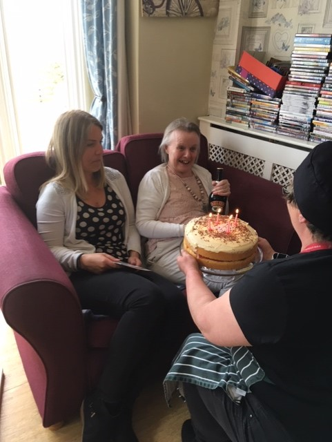 Everyone At Cowbridge Care Home Wished Di A Very Happy Birthday She Celebrated With Huge Cake And Large Glass Of Baileys